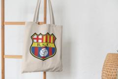 Сумка-шоппер с принтом FC Barcelona (ФК Барселона) бежевая 002
