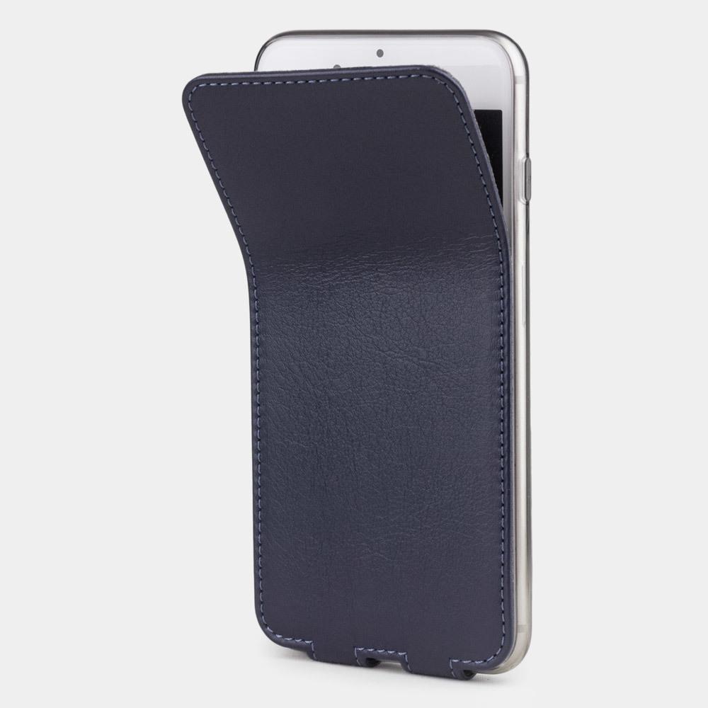 Чехол для iPhone 8 Plus из натуральной кожи теленка, цвета индиго
