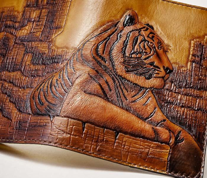 BC196 Кожаный подарочный ежедневник «Тигр», ручной рисунок (A5) фото 07