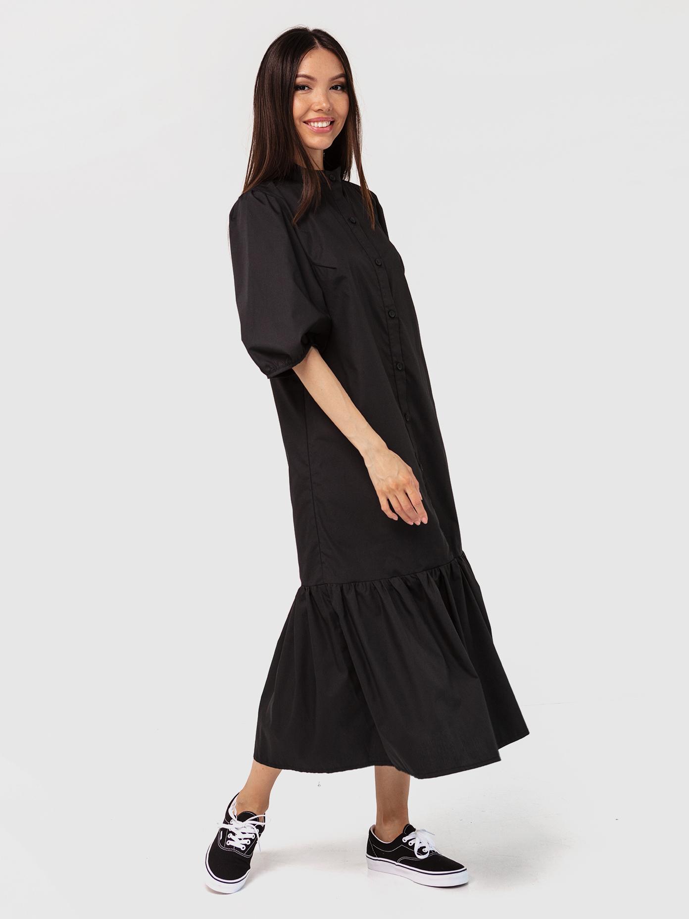 Платье-рубашка хлопковое черное