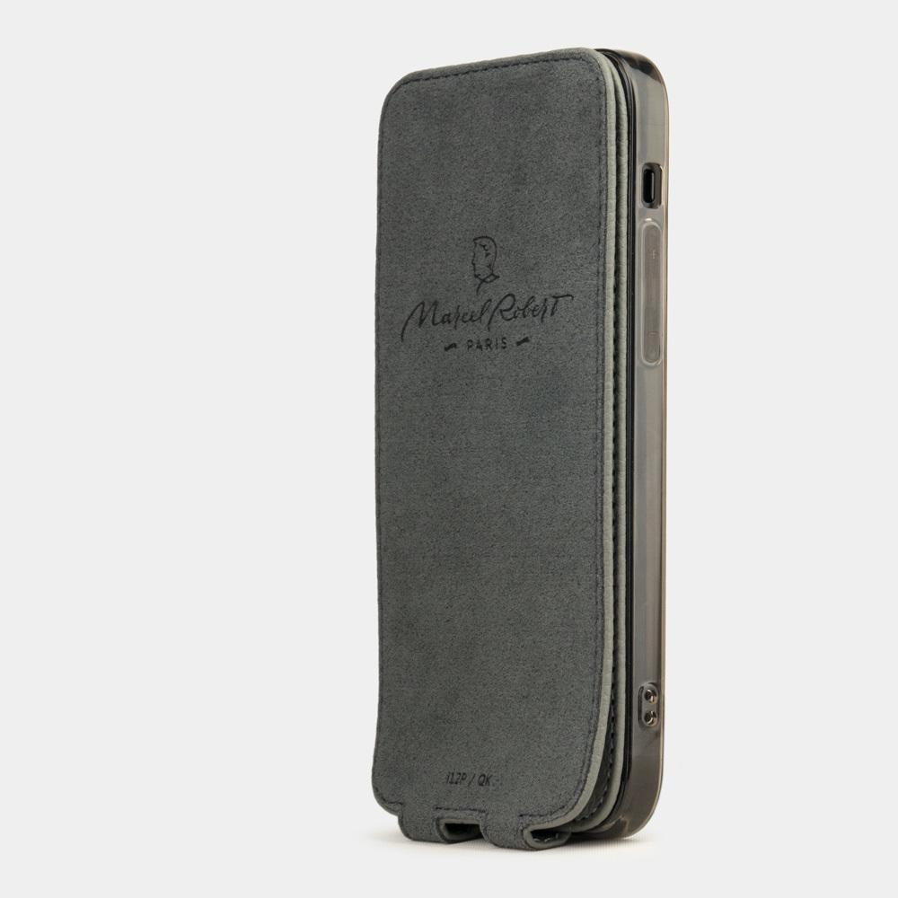 Чехол для iPhone 12 Pro Max из натуральной кожи теленка, стального цвета