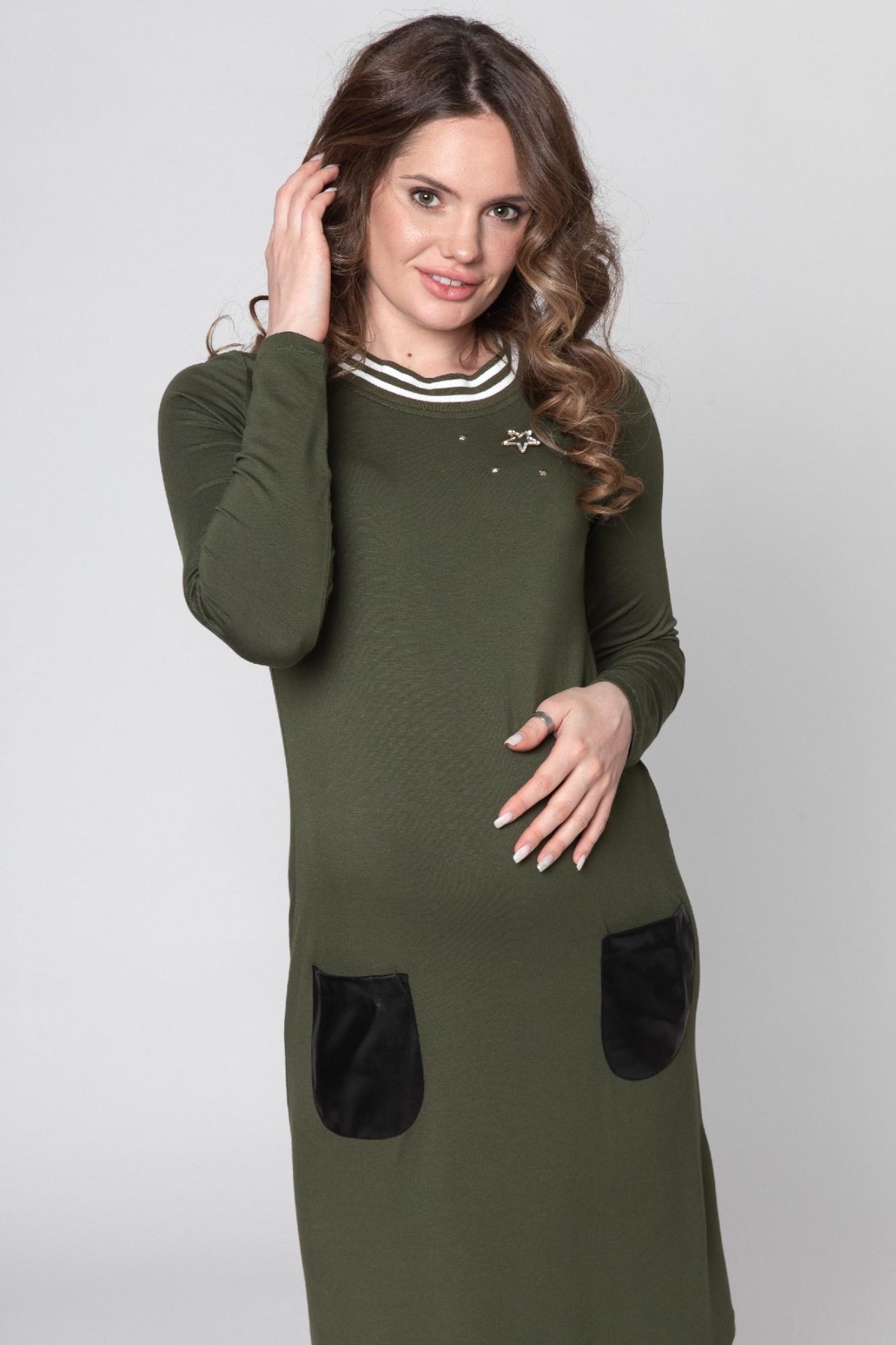 Платье для беременных 09166 зеленый