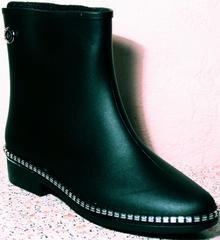 Резиновые сапоги модельные женские низкие Hello Rain Story 1019 Black