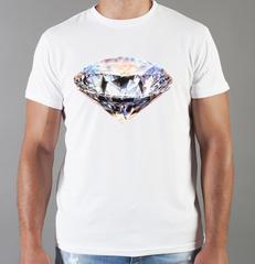 Футболка с принтом Бриллиант (с бриллиантами, с камнями, diamonds) белая 007