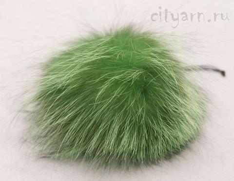 Помпон из меха крашеной чернобурки, большой, хризолитово-зелёный с чёрным, диаметр 12 см