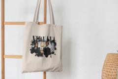 Сумка-шоппер с принтом Нирвана, Курт Кобейн (Nirvana, Kurt Cobain) бежевая 0010
