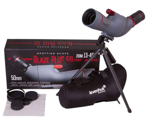 Комплект поставки трубы Левенгук Blaze PLUS 50: футляр, штатив, салфетка, защитные крышки