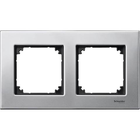 Рамка на 2 поста. Цвет Платина/Серебро. Merten. M-Elegance System M. MTN403260