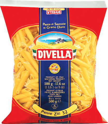 Макароны ПЕННЕ ЗИТИ (Divella-Italy) Бахрушинъ 0,5кг