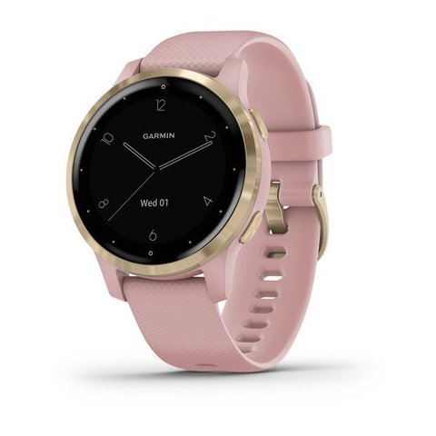 Garmin Vivoactive 4s - Light Gold Stainless Steel Bezel with Dust Rose Case and Silicone Band