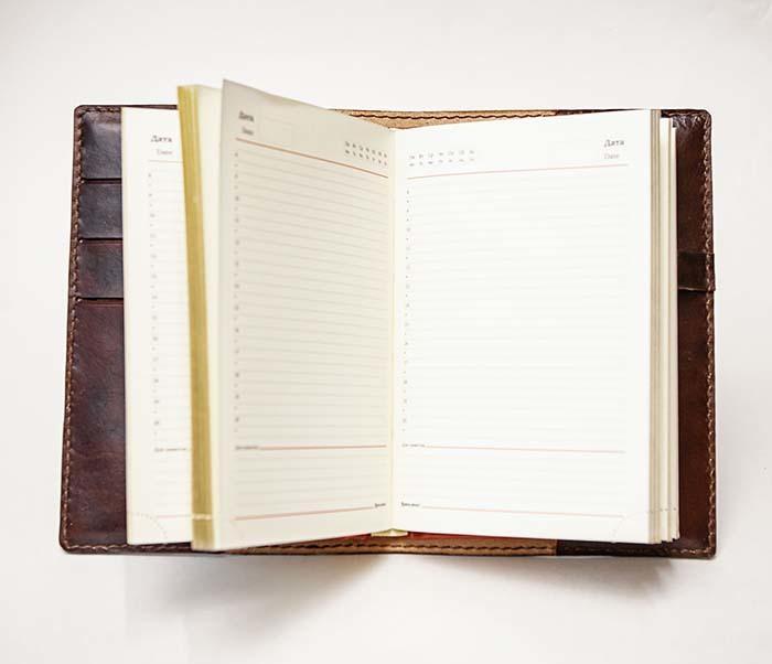 BC196 Кожаный подарочный ежедневник «Тигр», ручной рисунок (A5) фото 09