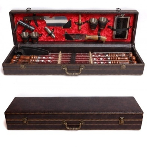 Кизлярский набор шампуров в коробке кожзам №1