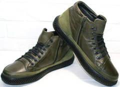 Мужские зимние ботинки из натуральной кожи термо Luciano Bellini BC2803 TL Khaki.