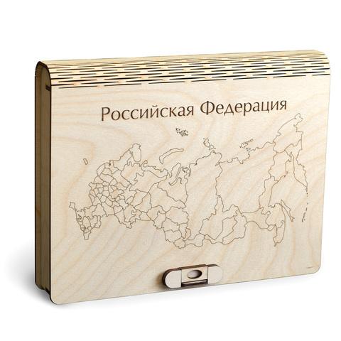Пазл-карта России ДекорКоми из дерева - 59x31 см / С магнитами