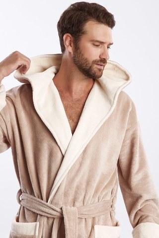 Мужской махровый халат из бамбука  929 бежевый PECHE MONNAIE
