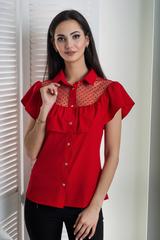 Лея. Сучасна стильна молодіжна сорочка. Червоний