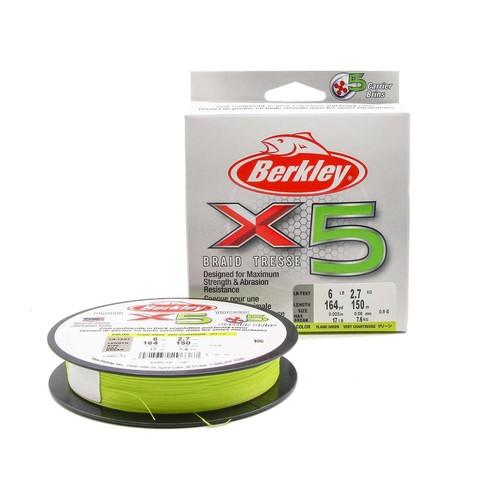Плетеная леска Berkley X5 150м Ярко-желтая 0,08мм 2,7кг