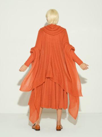 Женский шарф терракотового цвета из мохера и шерсти - фото 2