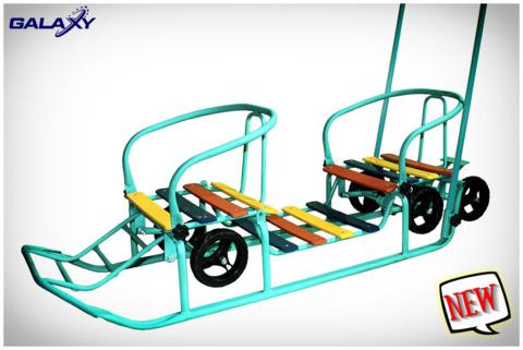 новая модель санок-двойняшек с колесами.