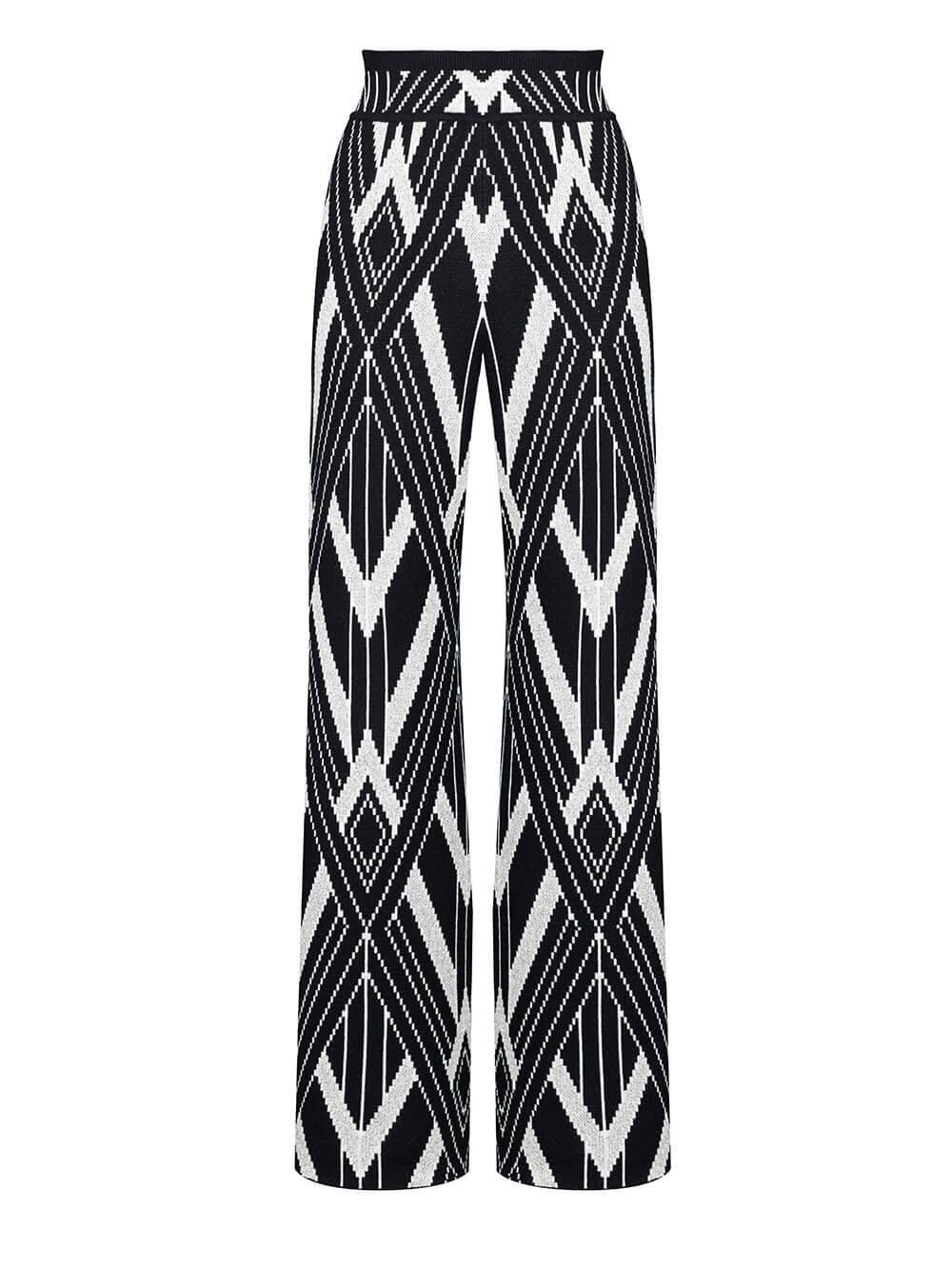 Женские брюки черного цвета из шелка и кашемира - фото 1