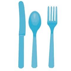 Столовые приборы пластик Голубой / Caribbean blue / 24 шт.