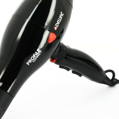 Фен Dewal Profile Compact, 2000 Вт, ионизация, 2 насадки, черный