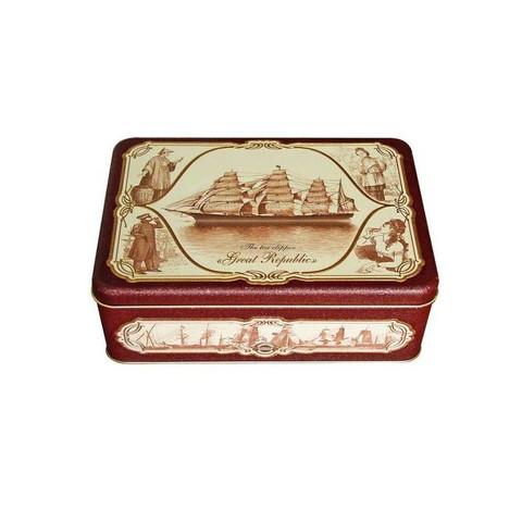 Чай подарочный Hilltop Морская шкатулка листовой черный/зеленый ассорти 200 г (с ситечком для заваривания)