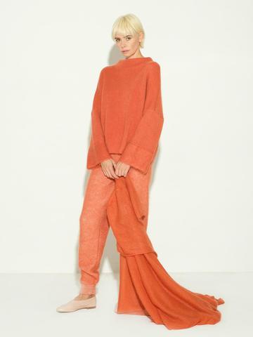 Женский шарф терракотового цвета из мохера и шерсти - фото 3