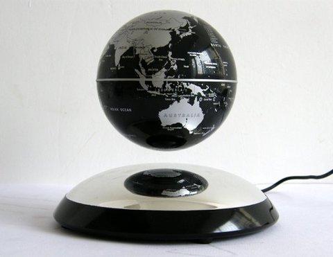 Летающий глобус на подставке (чёрный)