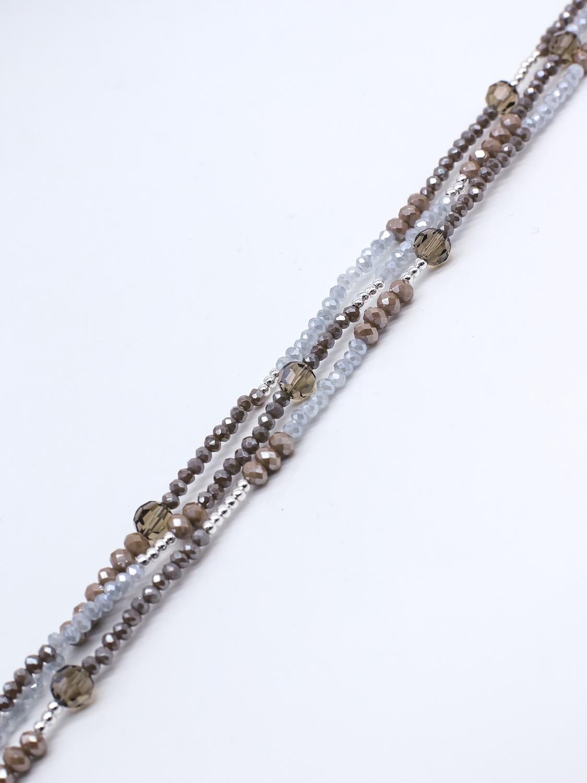Браслет из серого хамелеон, коричневого хрусталя с серебром  оптом и в розницу