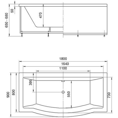 Ванна акриловая Aquatek Гелиос 180х90см. на каркасе и сливом-переливом. схема