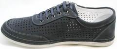 Мужские модные кроссовки с тонкой подошвой Vitto Men Shoes 3560 Navy Blue.