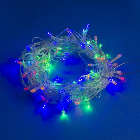 ULD-S1000-090/STA MULTI IP20 Гирлянда светодиодная, 10м. 90 светодиодов. Разноцветный свет. Провод прозрачный. ТМ Uniel