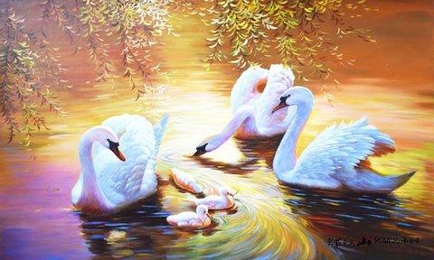 Алмазная Мозаика 40x50 Лебеди на озере (арт. GA74696 )
