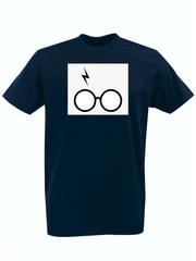 Футболка с принтом Гарри Поттер (Harry Potter/ Гриффиндор, Слизерин, Когтевран, Пуффендуй) темно-синяя 0041