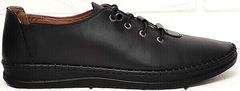 Стиль смарт кэжуал кроссовки черные женские мокасины из натуральной кожи EVA collection 151 Black.