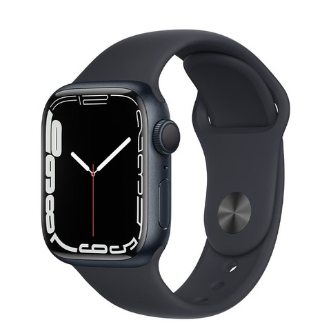 Apple Watch Series 7, GPS, 41 мм, корпус из алюминия цвета «тёмная ночь», спортивный ремешок «тёмная ночь»