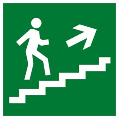 Е15 Эвакуационный знак - Направление к эвакуационному выходу по лестнице вверх направо