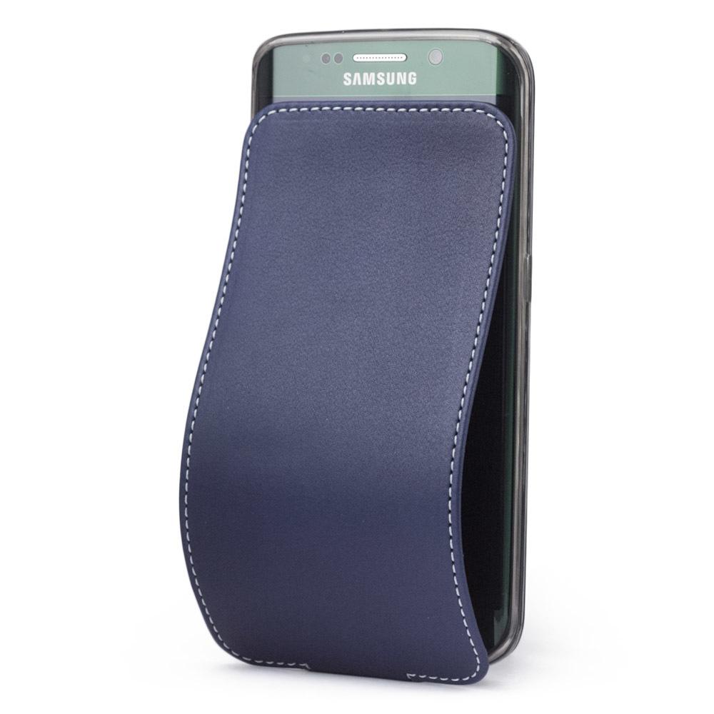 Чехол для Samsung Galaxy S6 edge из натуральной кожи теленка, синего цвета
