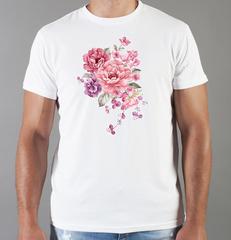 Футболка с принтом Цветы (Пионы) белая 001