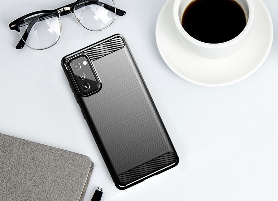 Мягкий чехол черного цвета под карбон на Samsung Galaxy S20 FE (Fan Edition), серия Carbon от Caseport