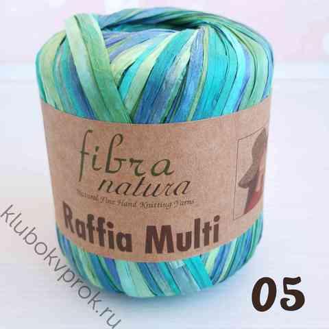 FIBRA NATURA RAFFIA MULTI 117-05, Синий/зеленый