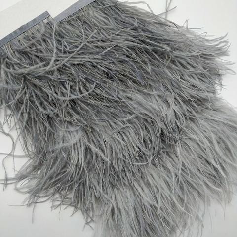 Тесьма  из перьев страуса h 10-15 см., серый (теплые)