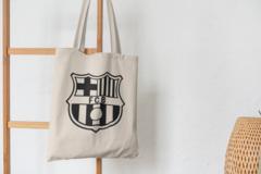 Сумка-шоппер с принтом FC Barcelona (ФК Барселона) бежевая 003