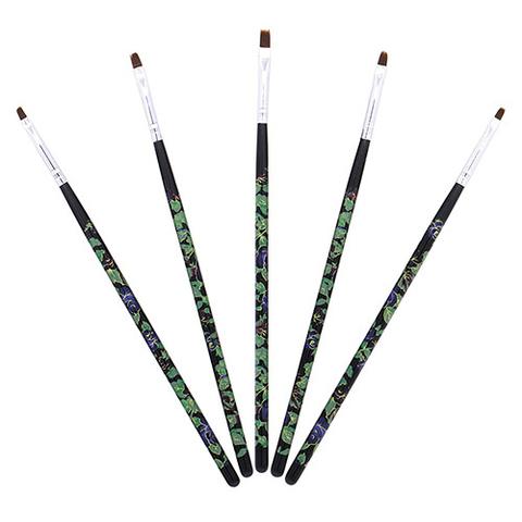 Кисти для росписи (5шт) с цветами, черные