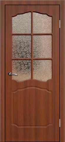 Дверь Сибирь Профиль Классика, цвет итальянский орех, остекленная