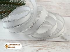 Лента репсовая с серебряной люрексовой бахромой 17 мм