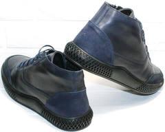 Модные ботинки на шнурках осень зима мужские Luciano Bellini BC2802 L Blue.