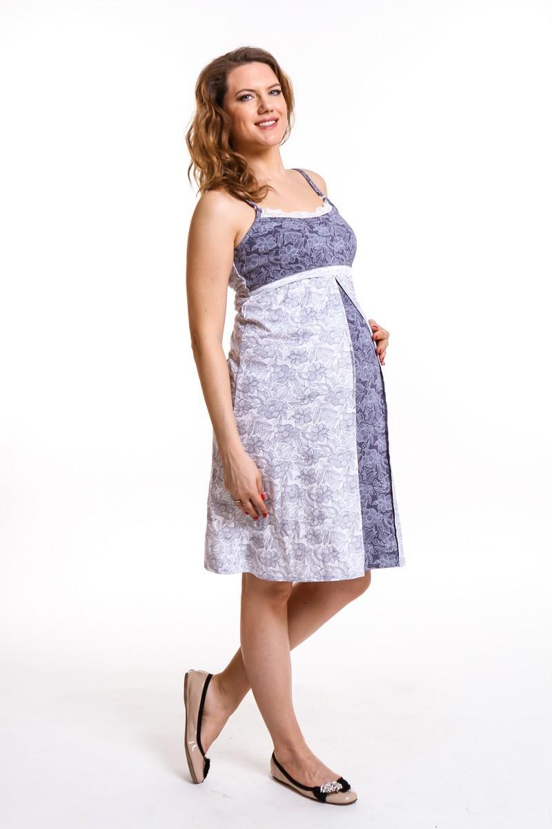 Комплект для беременных и кормящих с халатом и сорочкой 09366 сине-белый