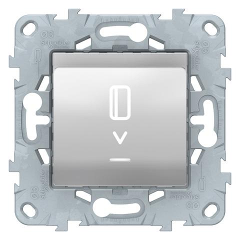 Выключатель карточный с подсветкой. Цвет Алюминий. Schneider Electric Unica New. NU528330